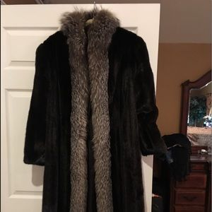 Antonovitch Full Length Mink Coat Fox trim o$3500